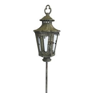 Lanterna con piantone in ferro e vetro - h132 d15 cm