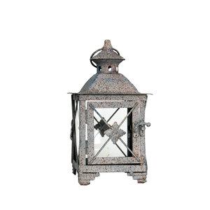 Lanterna azzurra in ferro effetto ruggine quadrifoglio - 27x14x14 cm