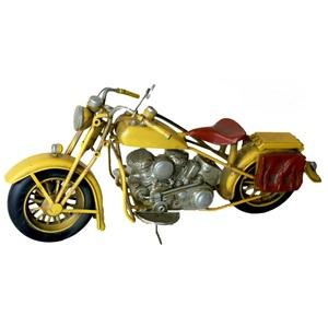 Moto gialla modellino decorativo ideale come complemento di arredo VINTAGE - h20x30