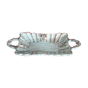 Vassoio rettangolare a due manici in ceramica decorata a mano HOME DECOR - 42x22 cm