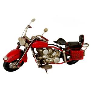 Moto rossa modellino decorativo ideale come complemento di arredo VINTAGE - h10x19 cm