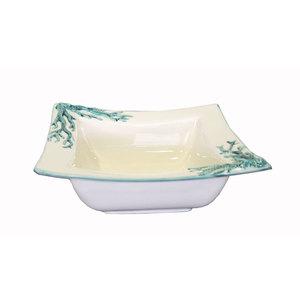 Vaschetta in ceramica quadrata Bianca con Fantasia Corallo Turchese Decorata a Mano artigianato italiano di nostra produzione - 26x23 cm