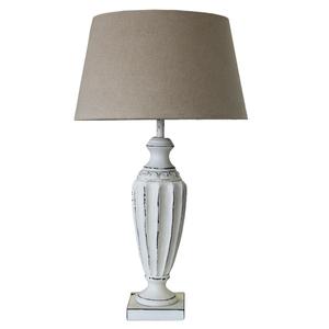LAMPADA IN LEGNO CON PARALUME IN STOFFA