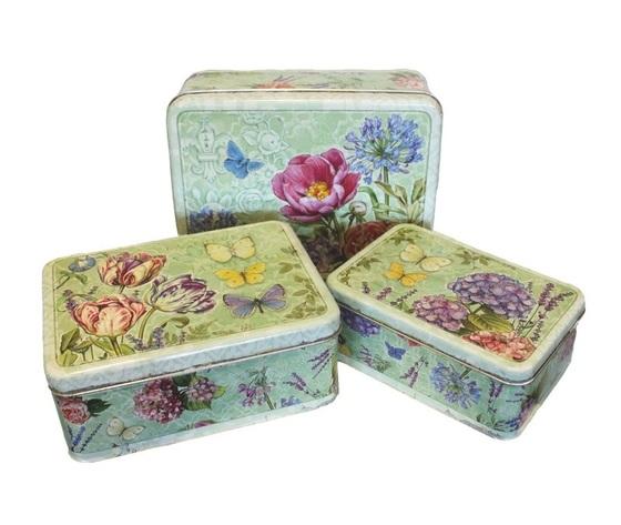 Set tre scatole portaoggetti in latta 29x23x12h cm - Scatole portaoggetti ...