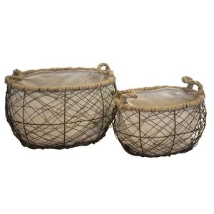 Set di due cesti ovali in ferro intrecciati con manici e interno in tessuto ideali sia per l'interno che per l'esterno - cm 45x38x28h