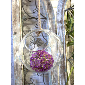 Bowl in vetro trasparente da appendere con corda in vimini linea ELEGANCE - diametro 30 cm