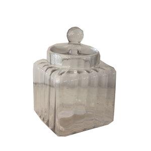 Barattolo portabiscotti in vetro con coperchio linea ELEGANCE ideale per arredamento - 15x15x25 cm