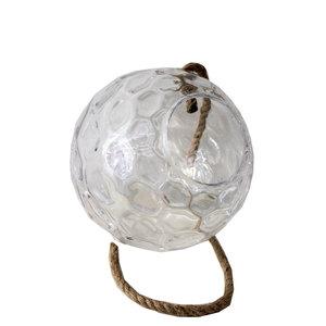 Bowl in vetro trasparente da appendere con corda in vimini linea ELEGANCE - diametro 32 cm