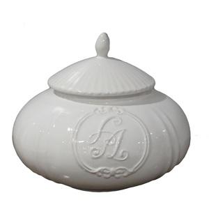 Biscottiera a zucca in ceramica bianca con coperchio - 30x25 cm