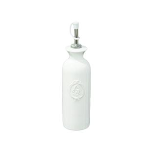 Oliera in ceramica bianca con tappo ferro - altezza 24 cm