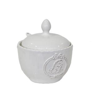 Zuccheriera in ceramica bianca ideale per prima colazione - altezza 12 cm