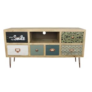 Porta tv in legno naturale a sei cassetti colorati NORDIC - 110x34x58H cm