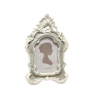 Portafoto rettangolare in resina da tavolo bianco e grigio linea SHABBY -  17x2x27 cm