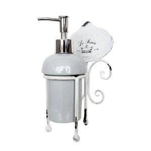 Dispenser da bagno portasapone in ceramica linea LE BAIN - 11x10x21 cm