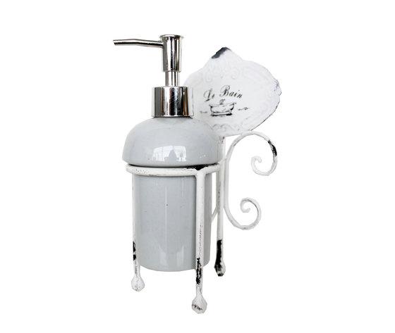 Dispenser da bagno portasapone in ceramica linea LE BAIN - 11x10x21 ...