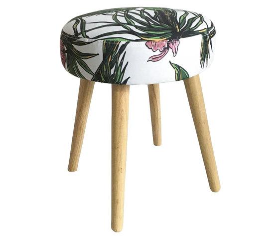 Sgabello pouf rivestito in tessuto e legno tropicale  LINEA JUNGLE -- H40xD35 cm