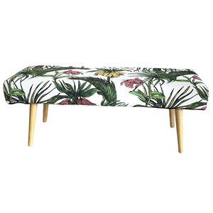 Panchetta rivestita in tessuto e legno tropicale  LINEA JUNGLE - 110x40x40 cm