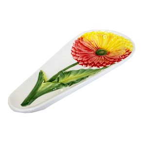 Portamestolo in ceramica decorato a mano Made in Italy GERBERA - 23x16x2,5H cm