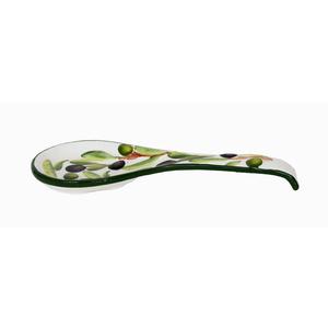 Portamestolo in ceramica decorato a mano Made in Italy olive - cm 30x13x2,5H
