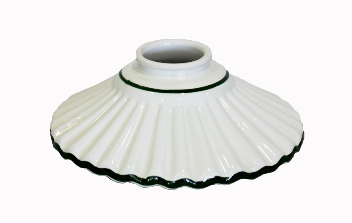 Paralume in ceramica bianca con bordo verde diametro cm per