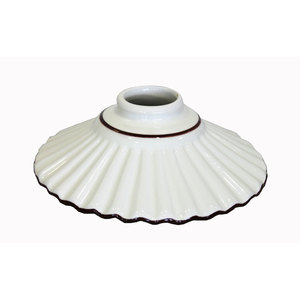 PARALUME IN CERAMICA BIANCO CON BORDO MARRONE DIAMETRO CM.20 PER RICAMBI APPLIQUE O LAMPADARI
