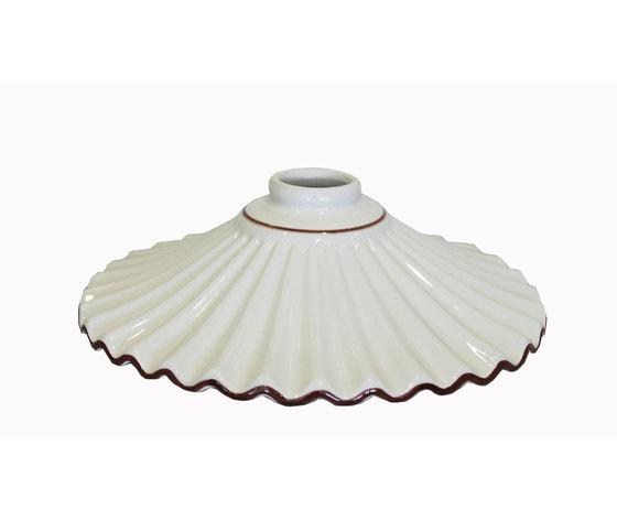 Paralume in ceramica bianca con bordo marrone diametro cm - Portaombrelli in ceramica bianca ...