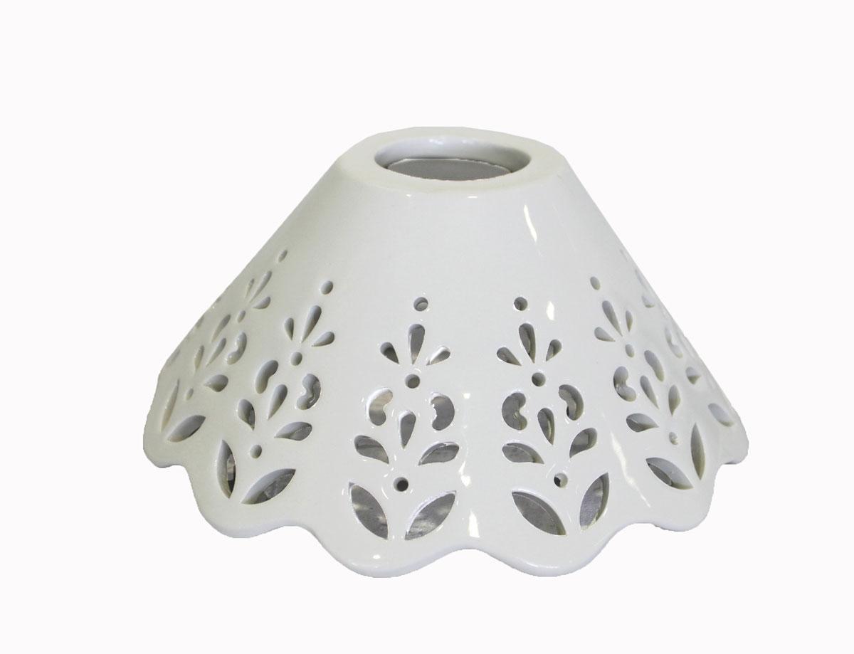 Lampadario Rustico Ceramica : Ricambio paralume piatto in ceramica traforata per lampadario a