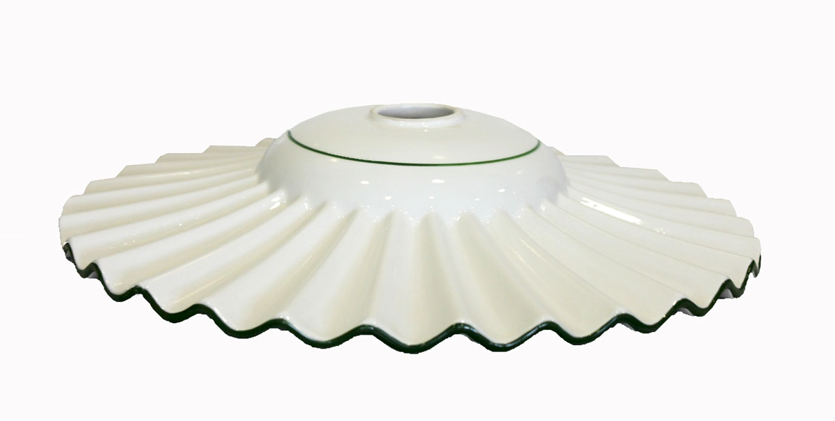 Lampadario Rustico Ceramica : Ricambio paralume piatto in ceramica bianca bordo verde traforata