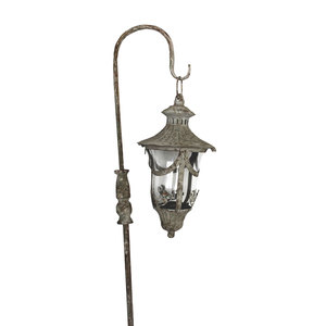 Lanterna con piantone in ferro bianco e vetro con portacandela ideali per interno ed esterno LINEA SHABBY - H35xD18 cm