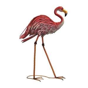 Fenicottero rosa king in ferro animale da giardino decorativo COLLEZIONE ANIMAL - H82xL58xP20 cm