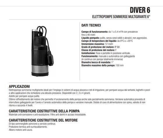 Elettropompa Sommersa Multigirante Dab DIVER6800 1HP