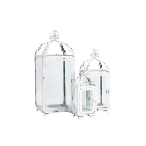 Set 3 lanterne in ferro bianco