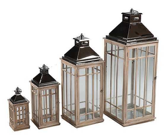 Set 4 lanterne in legno naturale e metallo