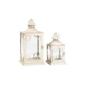 Set 2 lanterne in ferro bianco