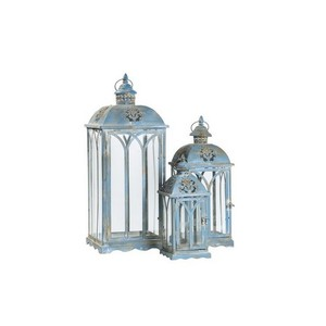 Set 3 lanterne in ferro azzurro
