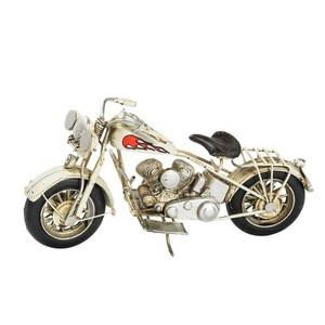 Modellino motocicletta Custom bianco con fiamma rossa
