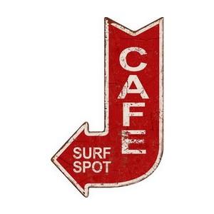 "Targa in metallo ""cafe surf spot"""