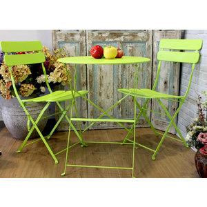 Tavolo e sedie da giardino in ferro colore verde fluò