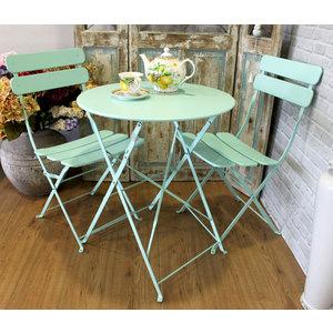 Tavolo e sedie da giardino in ferro colore acquamarina