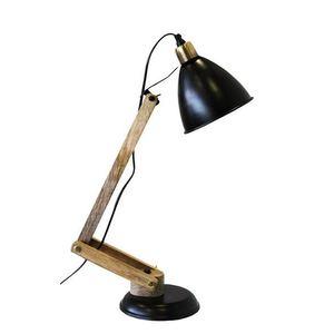 Lampada da tavolo in legno paralume nero