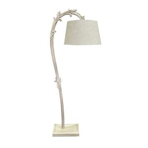 Lampada da terra, stelo curvo legno avorio, paralume avorio, stile Shabby Chic