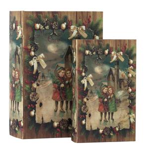 Set 2 scatole porta oggetti Noel