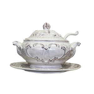 Zuppiera con piatto ceramica Antik