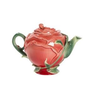 Teiera rossa in ceramica