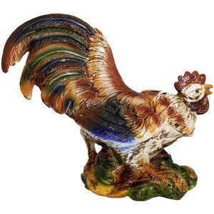 Gallo in ceramica con frutta