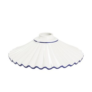 Paralume in ceramica plissettato bianco bordo blu 29 cm
