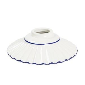 Paralume in ceramica plissettato bianco bordo blu 20 cm