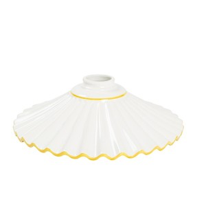 Paralume in ceramica plissettato bianco bordo giallo 29 cm
