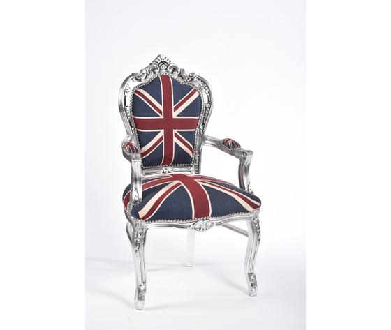 Poltrona barocco argento bandiera inglese