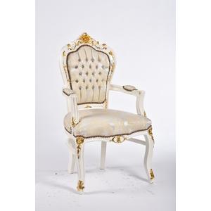 Poltrona barocco bianco con intarsi dorati
